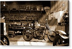 Old Motorcycle Shop Acrylic Print by Mike McGlothlen