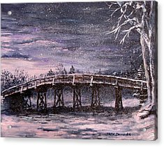 Old North Bridge In Winter Acrylic Print by Jack Skinner