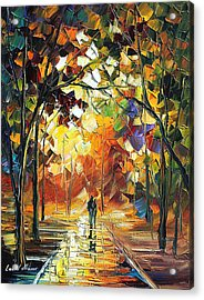 Old Park 3 - Palette Knife Oil Painting On Canvas By Leonid Afremov Acrylic Print by Leonid Afremov