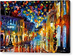 Old Part Of Town - Palette Knife Oil Painting On Canvas By Leonid Afremov Acrylic Print by Leonid Afremov