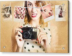 Old Photo Collection Pin-up Acrylic Print by Jorgo Photography - Wall Art Gallery