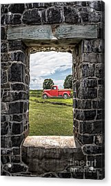 Old Red Pickup Truck Acrylic Print by Edward Fielding
