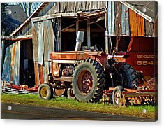 Old Red Tractor And The Barn Acrylic Print by Michael Thomas