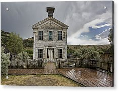 Old School House After Storm - Bannack Montana Acrylic Print by Daniel Hagerman