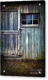 Old Shed Door With Spooky Shadow In Window Acrylic Print by Sandra Cunningham