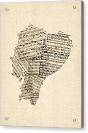 Old Sheet Music Map Of Ecuador Map Acrylic Print by Michael Tompsett