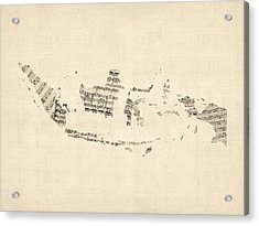 Old Sheet Music Map Of Indonesia Map Acrylic Print by Michael Tompsett
