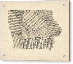 Old Sheet Music Map Of Iowa Acrylic Print by Michael Tompsett