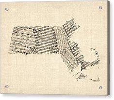 Old Sheet Music Map Of Massachusetts Acrylic Print by Michael Tompsett