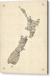 Old Sheet Music Map Of New Zealand Map Acrylic Print by Michael Tompsett