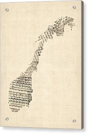 Old Sheet Music Map Of Norway Acrylic Print by Michael Tompsett