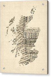 Old Sheet Music Map Of Scotland Acrylic Print by Michael Tompsett