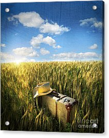 Old Suitcase With Straw Hat In Field Acrylic Print by Sandra Cunningham