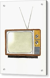 Old Television Set Acrylic Print by Michael Vigliotti
