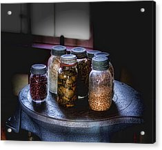 Old-time Canned Goods Acrylic Print by Tom Mc Nemar