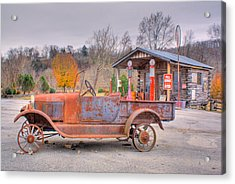 Old Truck And Gas Filling Station Acrylic Print by Douglas Barnett