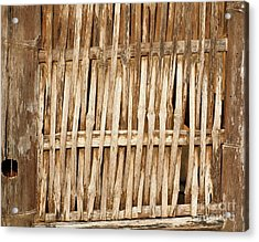 Old Wall Made From Bamboo Slats Acrylic Print by Yali Shi