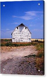 Old White Barn Acrylic Print by Kathy Yates