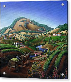 Old Wine Country Landscape Painting - Worker Delivering Grape To The Winery -square Format Image Acrylic Print by Walt Curlee