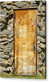 Old Wood Door And Stone - Vertical  Acrylic Print by James BO  Insogna