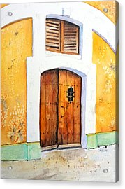 Old Wood Door Arch And Shutters Acrylic Print by Carlin Blahnik
