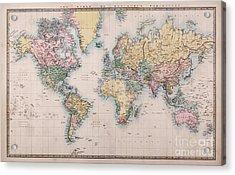Old World Map On Mercators Projection Acrylic Print by Richard Thomas