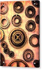 Old Worn Gears  Acrylic Print by Garry Gay