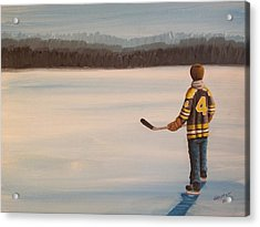 On Frozen Pond - Bobby Acrylic Print by Ron  Genest
