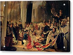 On The Deck During A Sea Battle Acrylic Print by Francois Auguste Biard