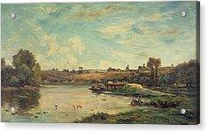 On The Loire Acrylic Print by Charles Francois Daubigny