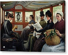 On The Omnibus Acrylic Print by Maurice Delondre