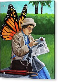 On Vacation -butterfly Angel Painting Acrylic Print by Linda Apple