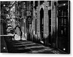 One Man And His Dog. Bairro Alto. Lisbon Acrylic Print by Carol Japp