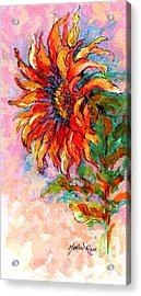 One Sunflower Acrylic Print by Marion Rose