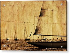 One Two Tree - Vintage Processed Photo Of A Sailboat Regatta In The Mediterranean Sea Acrylic Print by Pedro Cardona