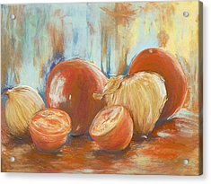Onions And Tomatoes Acrylic Print by AnnaJo Vahle