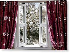 Open Window With Winter Scene Acrylic Print by Simon Bratt Photography LRPS