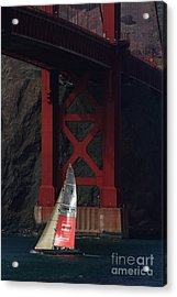 Oracle Racing Team Usa 76 America's Cup Sailboat Under The Sf Golden Gate Bridge - 7d19084 Acrylic Print by Wingsdomain Art and Photography