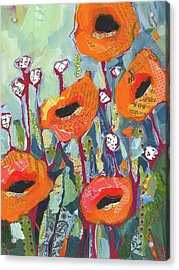 Orange Poppies Acrylic Print by Shelli Walters