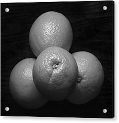 Oranges On Wood Background In Black And White Acrylic Print by Donald Erickson