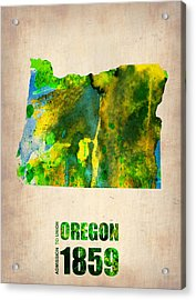 Oregon Watercolor Map Acrylic Print by Naxart Studio