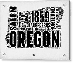 Oregon Word Cloud 1 Acrylic Print by Naxart Studio