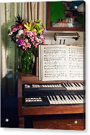 Organ And Bouquet Of Flowers Acrylic Print by Susan Savad