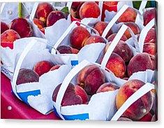 Organic Peaches At The Market Acrylic Print by Teri Virbickis