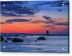 Orient Point Lighthouse At Dawn Acrylic Print by Rick Berk
