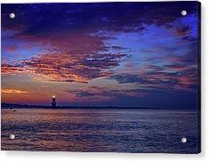 Orient Point Lighthouse At Sunrise Acrylic Print by Rick Berk