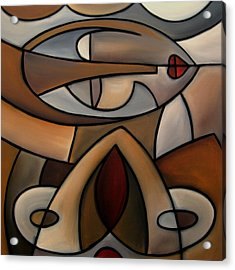 Original Cubist Art Painting - Mama Acrylic Print by Tom Fedro - Fidostudio