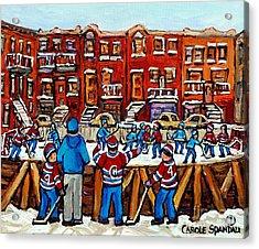 Original Hockey Art Paintings For Sale The Neighborhood Hockey Rink Canadian Winter Scenes Acrylic Print by Carole Spandau