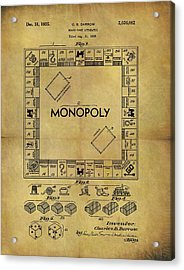 Original Monopoly Board Game Patent Acrylic Print by Dan Sproul