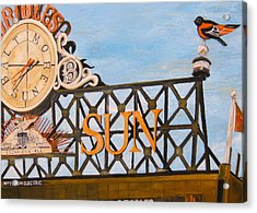 Orioles Scoreboard At Sunset Acrylic Print by John Schuller